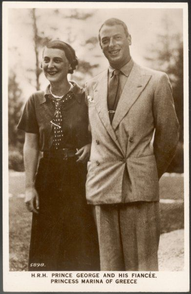 GEORGE, DUKE OF KENT Son of George V with his fiancee, Marina of Greece, in 1934