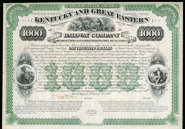 THE KENTUCKY AND GREAT EASTERN RAILWAY COMPANY Gold Bond share certificate
