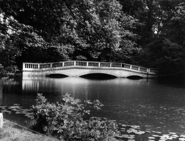 The elegant Georgian bridge across the late at Kenwood House, Highgate, London, a 17th century building, remodelled by Robert Adam between 1764 and 1779. Date: 18th century