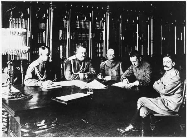 Alexander Kerensky and his military cabinet. From left to right: General Baranovsky; Colonel Yakubovich; Savinkov; Kerensky; and Prince Tumanov