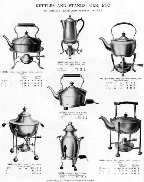 Kettles and urns for use on the tea-table, each with its own powerful lamp to keep the contents hot if not bubbling. Date: 1930