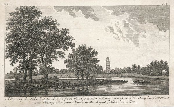 'A View of the Lake & Island seen from the Lawn with a distant prospect of the Temples of Arethusa and Victory, & the great Pagoda in the Royal Gardens at Kew&#39