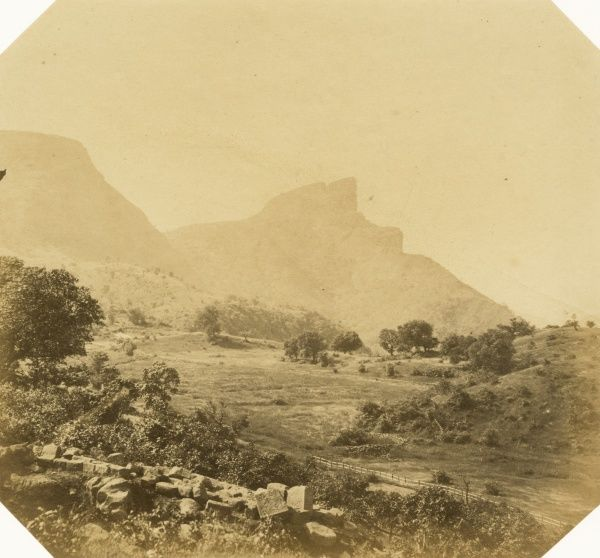 Khandalla Carnac Point, and the Duke's Nose Mountains, from Mr Berkley's bungalow Date: 1856