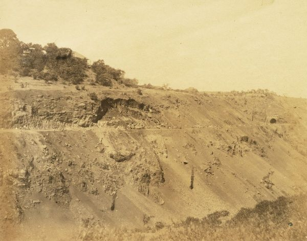 Khandalla Railway along scarp of ravine; Tunnels nos 25 and Delmont House; at 12 1/2 miles Date: 1856