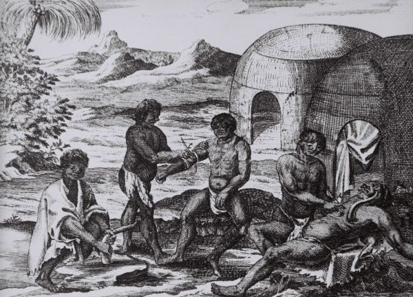 Khoikhoi - visit at the doctor. Two patients get their treatment. African bushmen. Date: 1719