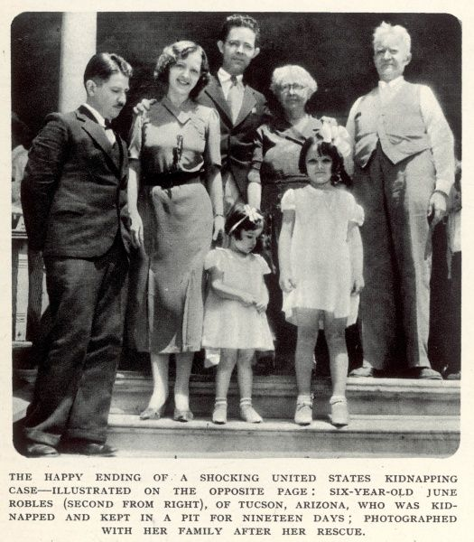 The happy ending of a shocking United States kidnapping case: six-year-old June Robles (second from right), of Tucson, Arizona, was kidnapped and kept in a pit for nineteen days; she is shown here with her family after her rescue
