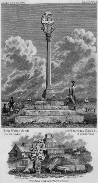 Kilnsea Cross, at Holderness, Yorkshire, is an enigmatic erection which has defied antiquarians -- it was probably moved here from another location on the rapidly eroding coast, but its origins, purpose and significance remain obscure. Date: 1818