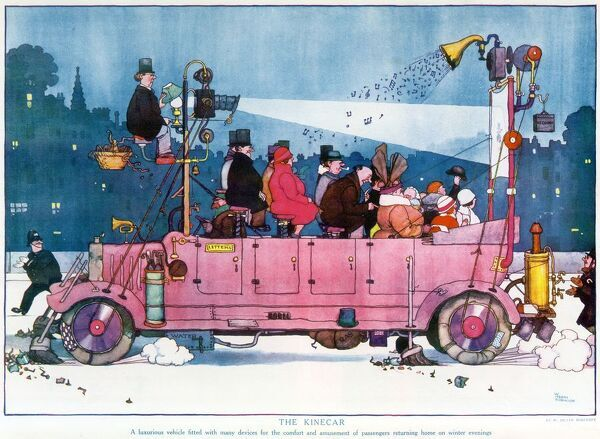 Double page illustration by William Heath Robinson (1872-1944) showing a well-equipped omnibus transporting passengers while they watch a film