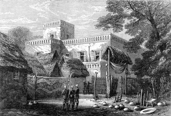 The King of Ashanti's palace at Kumasi, the Ashanti capital, viewed from the east in 1874 towards the end of the second Ashanti War (1873-74). In 1873, after decades of an uneasy relationship between the British and the Acing people of central Ghana