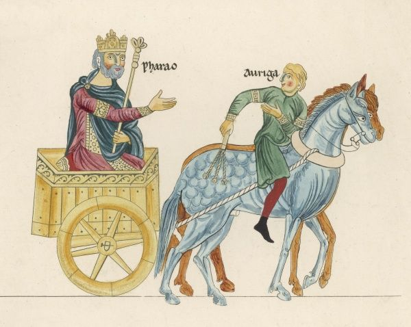 A king in his horse-drawn chariot