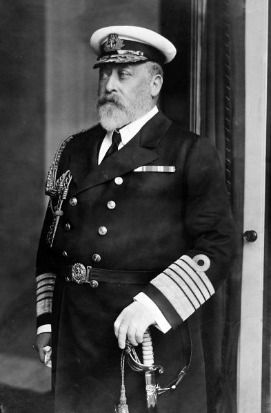 Photographic portrait of King Edward VII (1841-1910) of Great Britain and Ireland, pictured wearing his Royal Navy uniform as Admiral of the Fleet, c.1905