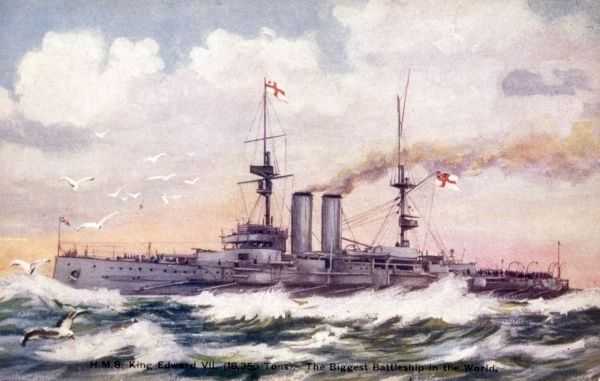 Warship of the Royal Navy. Date: 1907