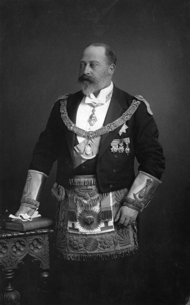 Photographic portrait of King Edward VII (1841-1910) of Great Britain and Ireland, pictured in the ceremonial attire of a Mason, c.1895