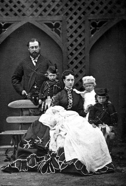 Photograph showing King Edward VII (1841-1910) of Great Britain and Ireland, with his wife, Alexandra, and children in Highland attire, c.1870. At that time, Edward and Alexandra were Prince and Princess of Wales. The Duke of York, later George V