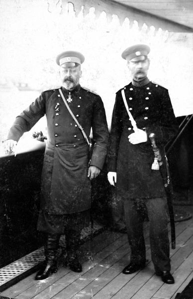 Photographic portrait of King Edward VII (1841-1910) of Great Britain and Ireland (on left), pictured in his uniform as Colonel-in-Chief of the 27th Regiment of Russian Dragoons, c.1900