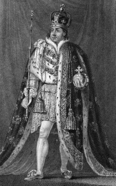 KING GEORGE IV OF ENGLAND Full length picture wearing ermine trimmed robes and a crown and holding a sceptre and orb Date: 1762 - 1830