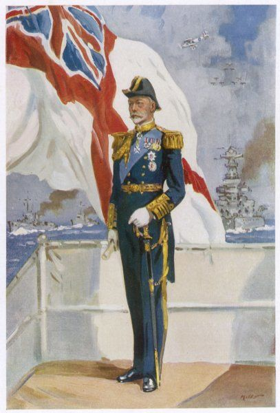 KING GEORGE V (1865 - 1936) on a warship, reviewing his fleet at the time of his Silver Jubilee