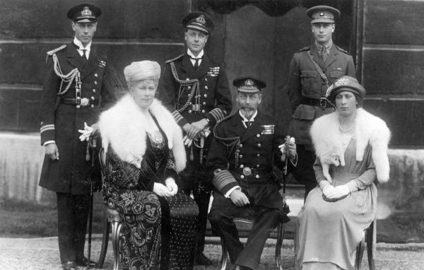 King George V and his wife Queen Mary together with four of their five surviving children, from left; Prince Albert of York (later King George VI), Prince Edward of Wales (later King Edward VIII and Duke of Windsor) and Prince Henry of Gloucester