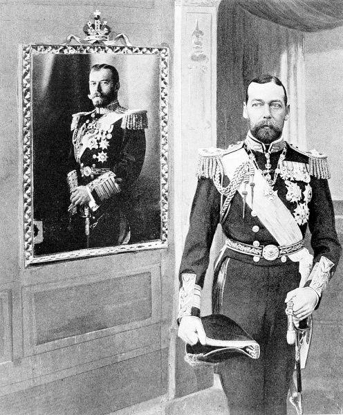 Photograph showing King George V (1865-1936) when Prince of Wales, standing beside a portrait of Czar Nicholas II of Russia (1894-1917) in 1909