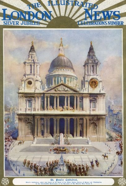 St Paul's Cathedral, Wren's masterpiece, chosen as the scene of the Silver Jubilee Service of Prayer and Thanksgiving on the 25th anniversary of the accession of King George V to the throne. Date: 1935