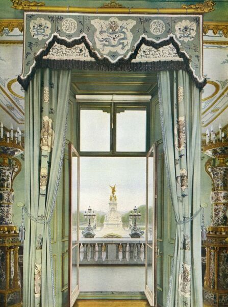 An unusual scene of the interior of the royal balcony at Buckingham Palace, from the centre room: a spot where royals have stood on many historic occasions during loyal demonstrations by crowds at the gates