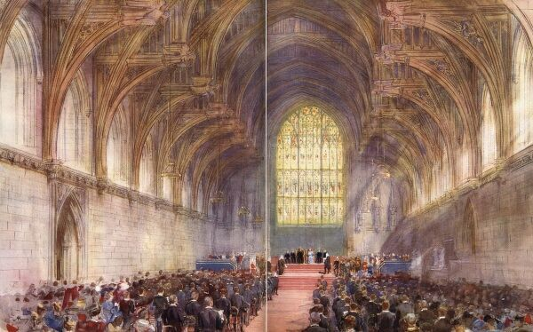 Westminster Hall: the scene of the reading of the loyal address to King George V and Queen Mary, by the Lord Chancellor and the speaker, from both houses. Date: 1935