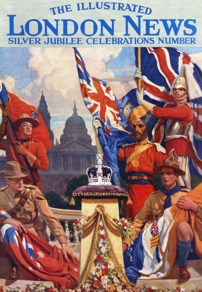 Soldiers from across the British Empire gather to adore the crown, resplendent on a garlanded pedestal, on the occasion of the Silver Jubilee celebrations of King George V