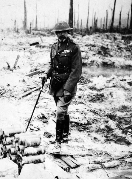 Photographic portrait of King George V of Great Britain and Northern Ireland (1865-1936), pictured in British Army uniform on a visit to the 'Western Front', during the First World War