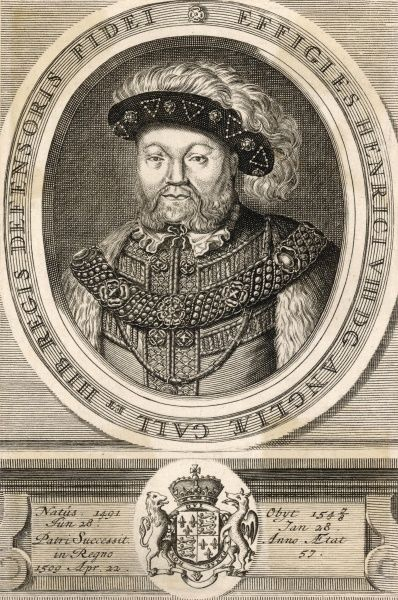 KING HENRY VIII Reigned 1509 - 1547 Oval portrait