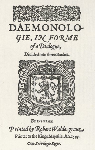 Title-page of 'DAEMONOLOGIE' by King James VI of Scotland (James I of England)