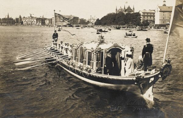 The King and Queen of Sweden in their Royal barge - Stockholm, Sweden