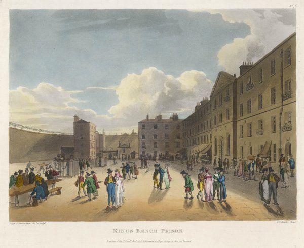 Located in St George's Fields, south of the Thames : a debtors' prison notorious for the laxness of its rules - it housed 30 gin shops, as well as facilities for dining