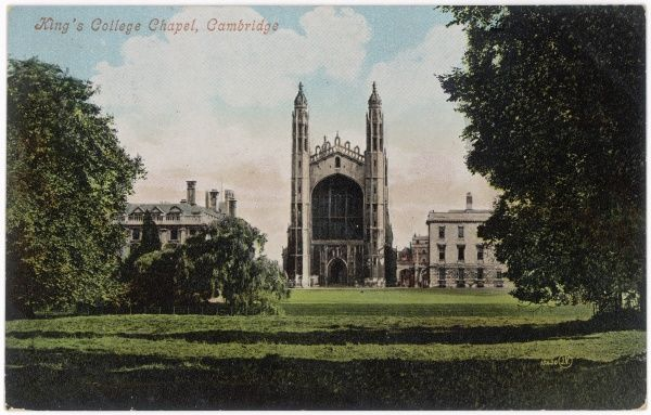 The Chapel and part of the College, seen from the Backs. The view is virtually unchanged, a hundred years later
