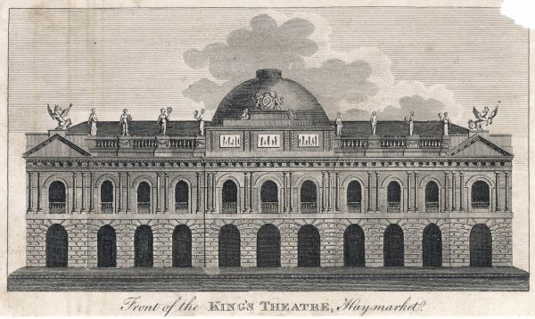 King's Theatre, Haymarket - the original front which was destroyed by a fire in 1789 and re-built by John Nash