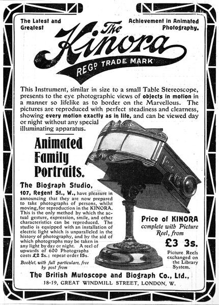 An advertisement for the Kinora, an animated family portrait viewer