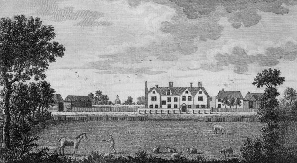 A man entices a horse with a handful of hay, while sheep graze in the grounds of Kirby Hall, Essex, the residence of Peter Muilman Esquire. Date: circa 1750