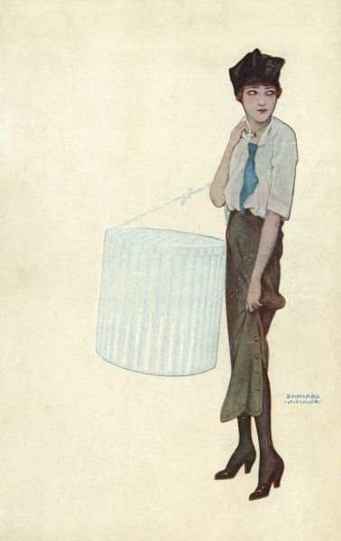 Parisian milliner's apprentice delivering a new hat wears a short narrow skirt with a buttoned split at the side, Louis heel shoes, blouse with tie & a square, brimless hat. Date: circa 1913