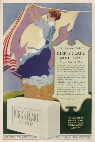 'Kirk's Flake White Soap - nothing so dainty or delicate in lingerie, laces, linens or woolens, but what it can be washed in absolute safety with Kirk's Flake White.&#39