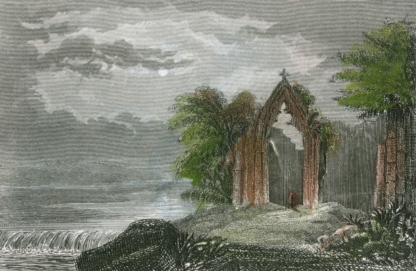 The ruins of Kirkstall Priory, Yorkshire (here called Kirksdale) Date: early 19th century