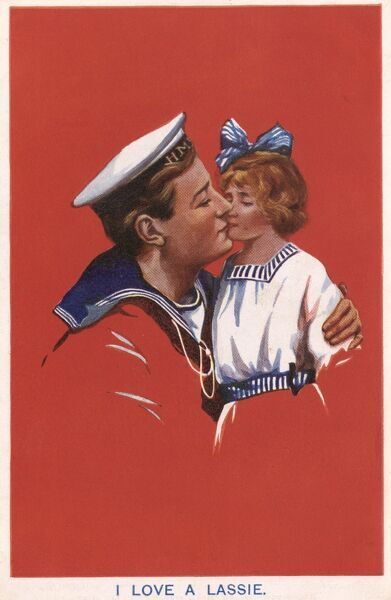'I love a lassie' - a sailor bids a fond farewell to his daughter in this touchingly sentimental card. Date: 1917