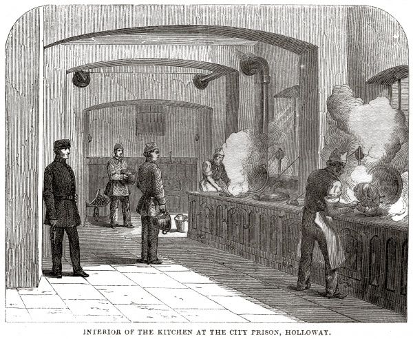 Kitchens at London City Prison and House of Correction, Holloway. Date: 1862