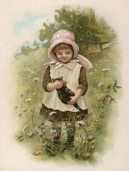 A small girl plays with her kitten in a meadow