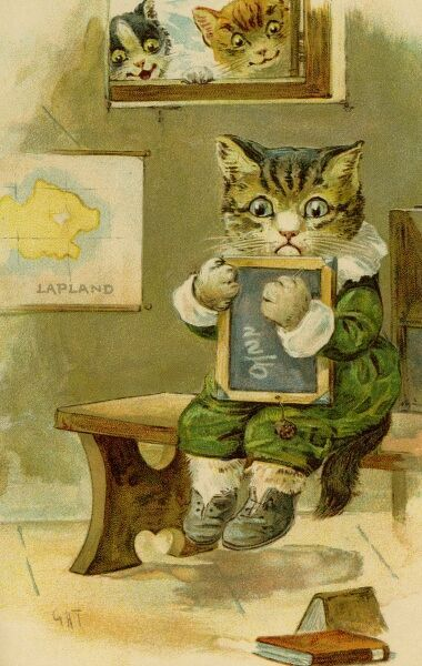 Kitten at school by gh Thompson. George Henry Thompson (1859-1959) specialised in illustrating humorous animals. He was also a landscape painter. This image in books and postcards by Ernest Nister. Date: circa 1904