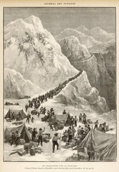 THE KLONDIKE GOLD RUSH - the stream of prospectors making their way across the Chilcot Pass on their way to the diggings