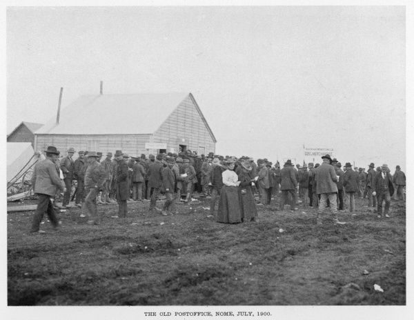 Miners gathering outside the Post Office at Nome, Alaska, during the gold rush