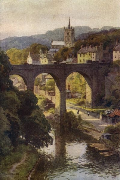 A general view of this placid Yorkshire town, with the bridge over the river Nidd. Date: circa 1909
