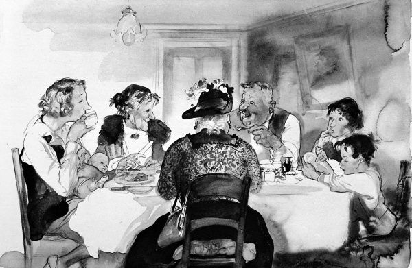 The first of two pictures by Edmund Blampied in a series called, 'Leaves from Life', showing a lower middle class family enjoying a simple dinner in a house