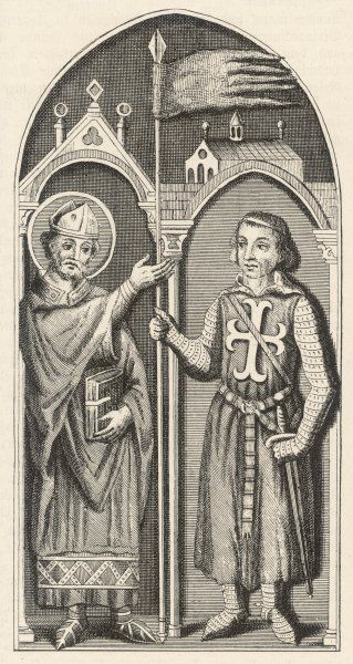 A crusading knight receives the Standard from an approving bishop