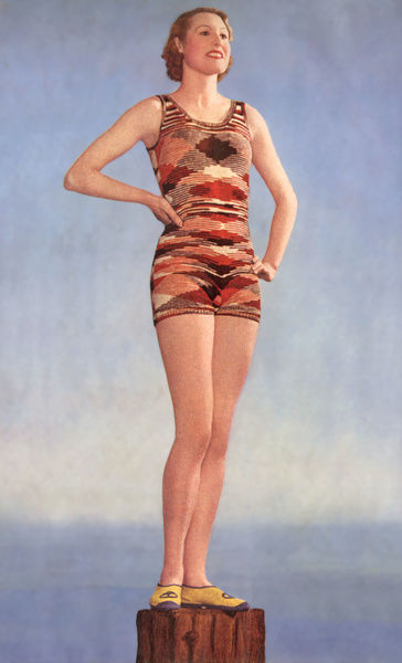 Knitted Swimming Costume C1935 Woman Wearing A Knitted Swimming