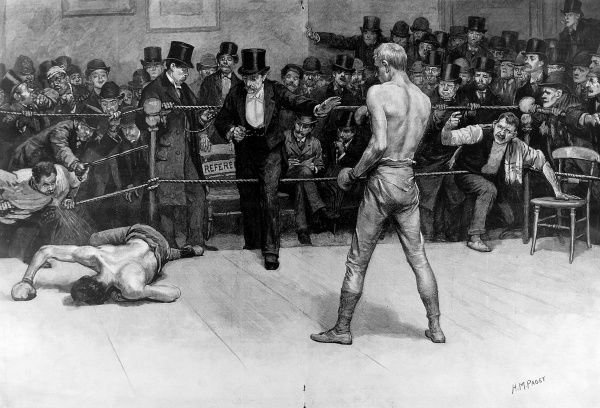 Engraving showing the end of a boxing match, c.1896. On the left, the beaten boxer lies on the ground, as the referee, in top hat, enters the ring to call the end of the match
